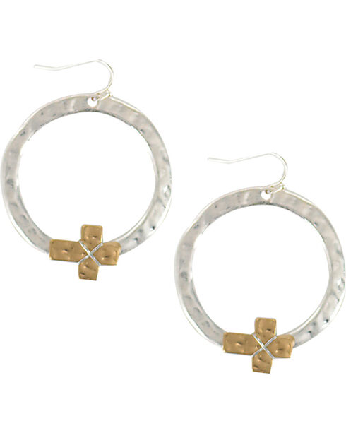 Shyanne® Women's Textured Cross Hoop Earrings, Silver, hi-res