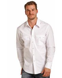 Rock & Roll Cowboy Men's White Long Sleeve Snap Shirt, , hi-res