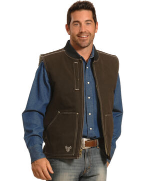 Cowboy Hardware Men's Steer Skull Vest, Brown, hi-res