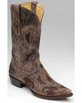 Corral Men's Full Quill Ostrich Inlay Western Boots, Brown, hi-res