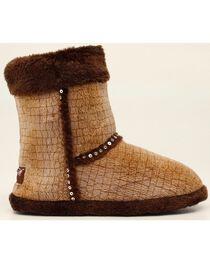 Blazin Roxx Plush Brown Sequin Slipper Booties, , hi-res