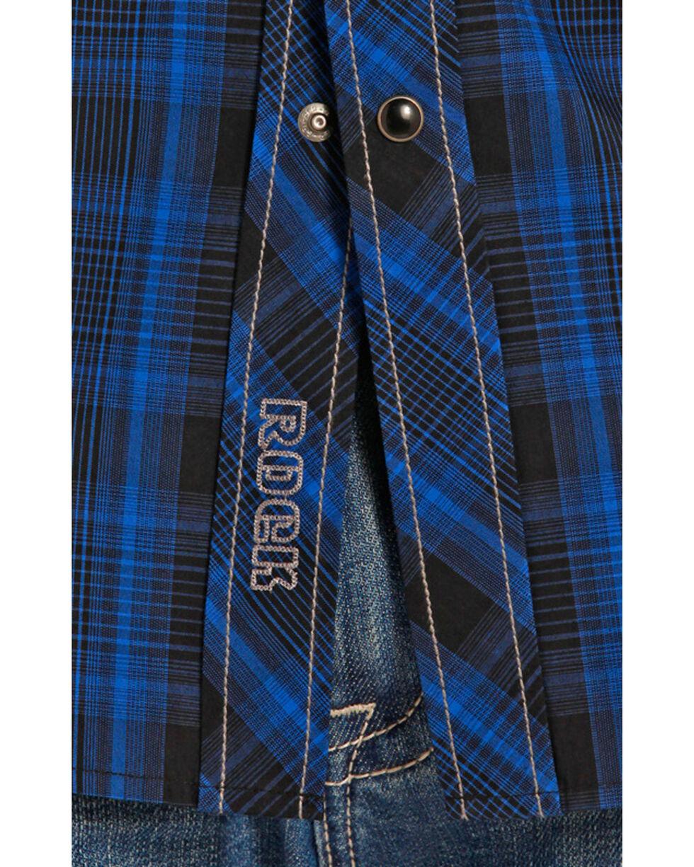 Rock and Roll Cowboy Blue and Black Poplin Western Snap Shirt , , hi-res
