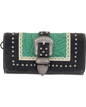 Montana West Women's Embossed Buckle Wallet, Black, hi-res