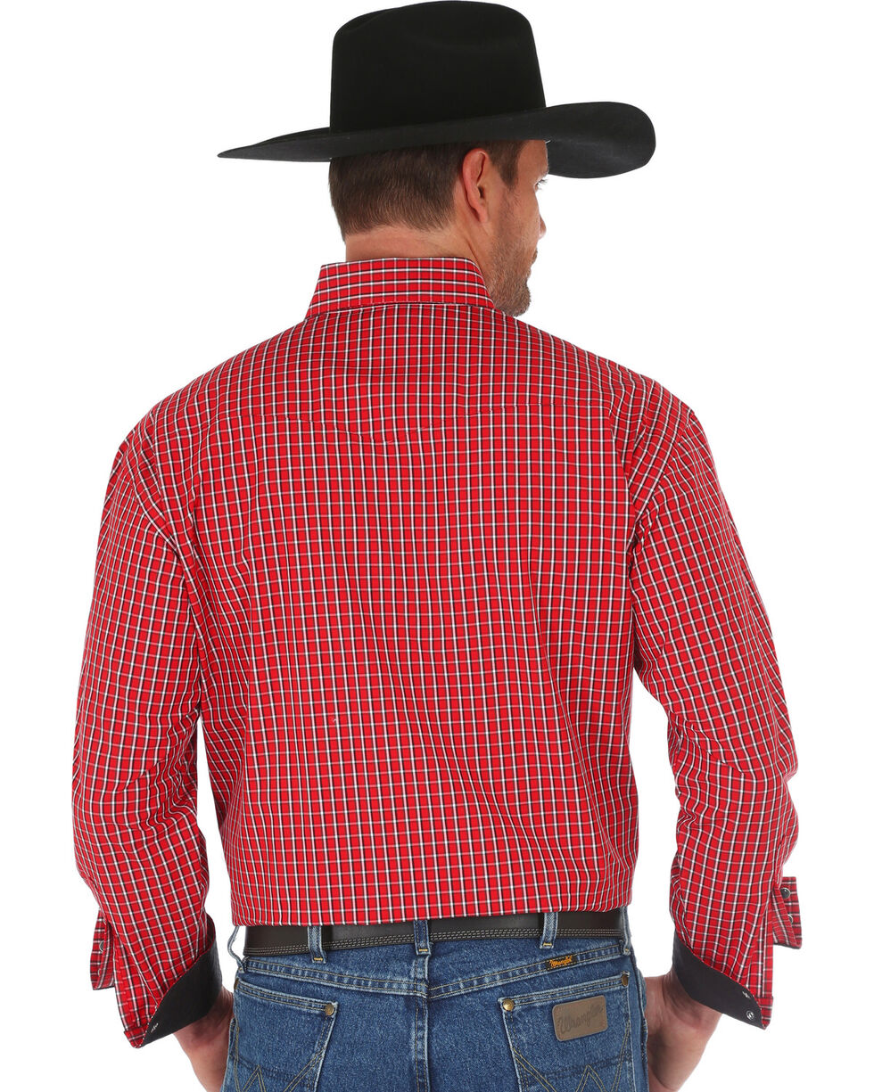 Wrangler George Strait Men's Red Small Plaid Western Shirt , , hi-res
