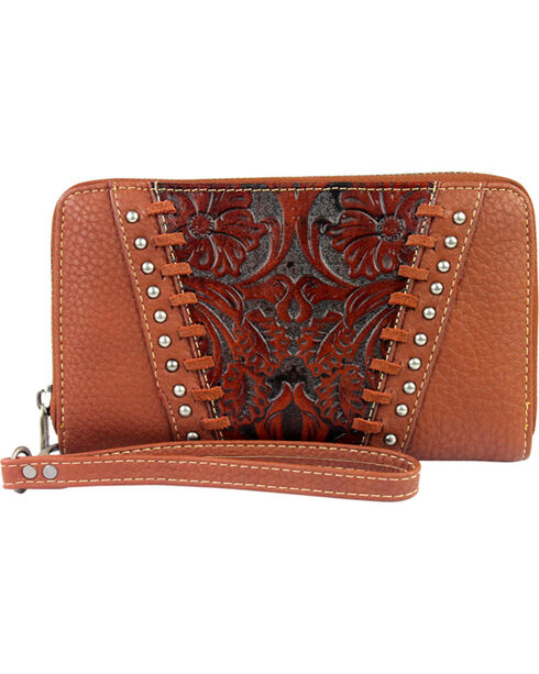 Trinity Ranch Women's Brown Floral Tooled Design Wallet , Brown, hi-res