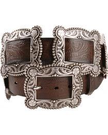 Nocona Sliding Conchos Leather Hip Belt, , hi-res