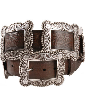 Nocona Sliding Conchos Leather Hip Belt, Dark Brown, hi-res