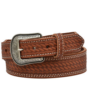 3D Men's Basketweave Western Fashion Belt, Distressed Brown, hi-res