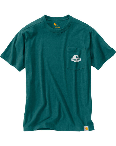 Carhartt Men's Green Maddock Block Lettering Pocket Tee - Tall, Green, hi-res
