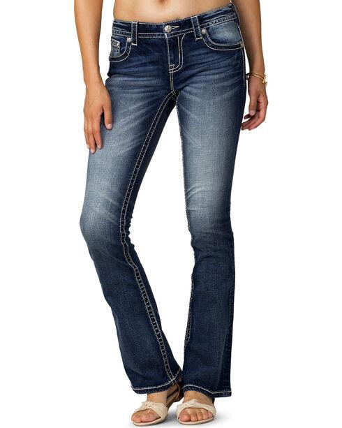 Miss Me Women's Indigo Major Fleur Mid-Rise Jeans - Boot Cut, Indigo, hi-res