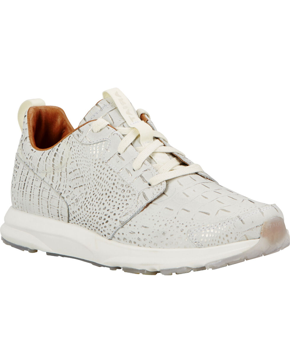 Ariat Women's Electric Croc Sneakers, White, hi-res