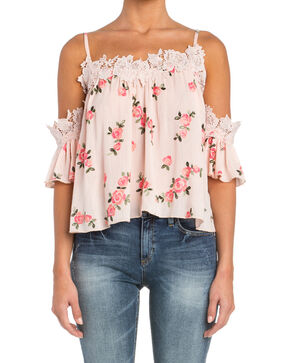 Miss Me Women's Floral Print Cold Shoulder Top , Pink, hi-res