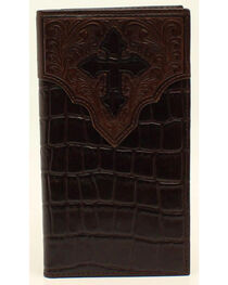 Ariat Croc and Cross Overlay Rodeo Wallet, , hi-res