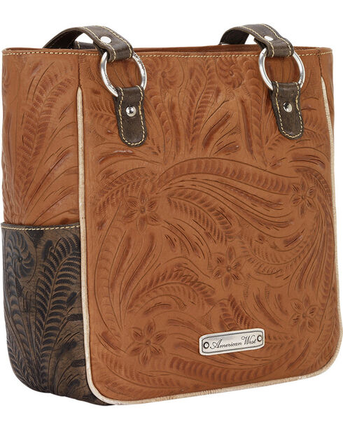 American West Women's Desert Wildflower Zip Top Tote with 3 Outside Pockets, Tan, hi-res