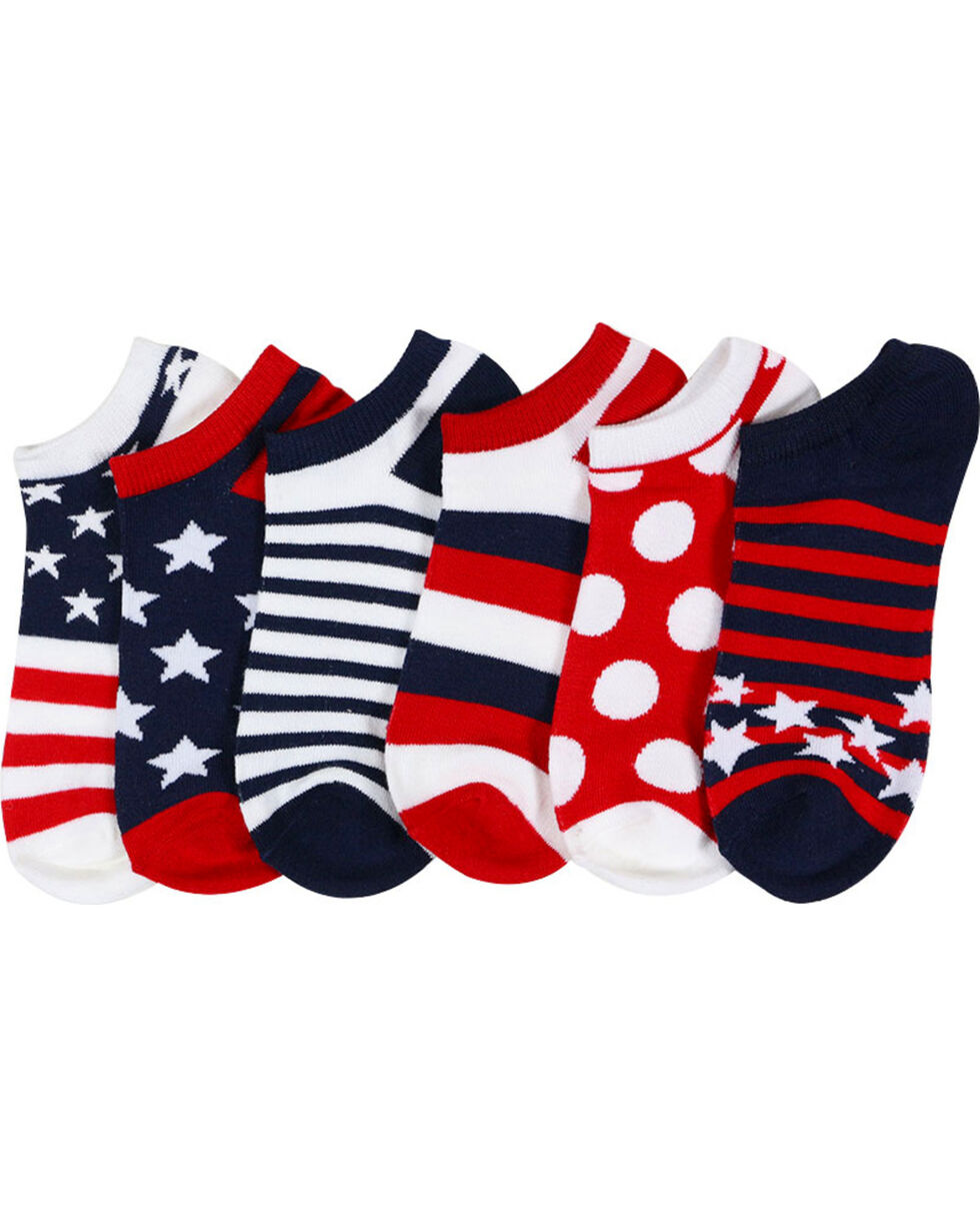 K-Bell Women's  6 Pair Americana No Show Socks, Multi, hi-res