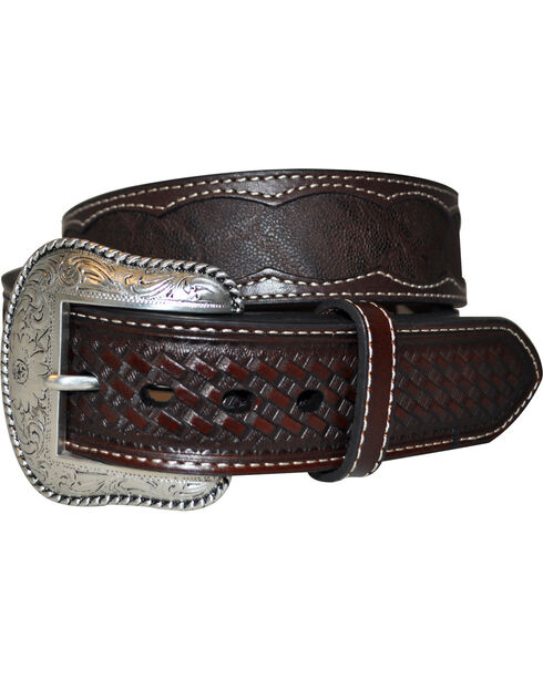 Roper Men's Brown Elephant Print Belt, Brown, hi-res