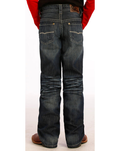 "Rock and Roll Cowboy Boys' Dark Wash Running ""V"" Jeans, Indigo, hi-res"