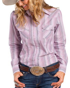 Sherry Cervi by Resistol Women's Delta Striped Long Sleeve Shirt, Pink, hi-res