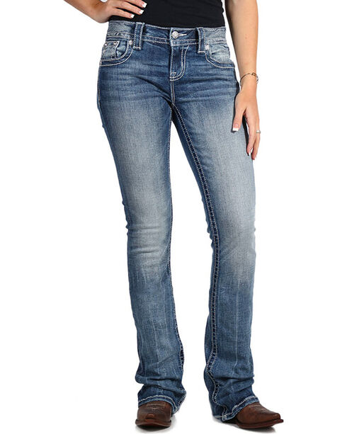 Miss Me Women's Mid-Rise Boot Cut Jeans , Blue, hi-res