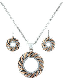 Montana Silversmiths Twisted Wreath of Burnished Ribbon Jewelry Set  , Blush, hi-res