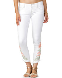 Miss Me Women's White Floral Oasis Ankle Jeans - Skinny , , hi-res