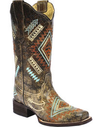 Corral Multicolored Diamond Embroidered Cowgirl Boots - Square Toe, , hi-res