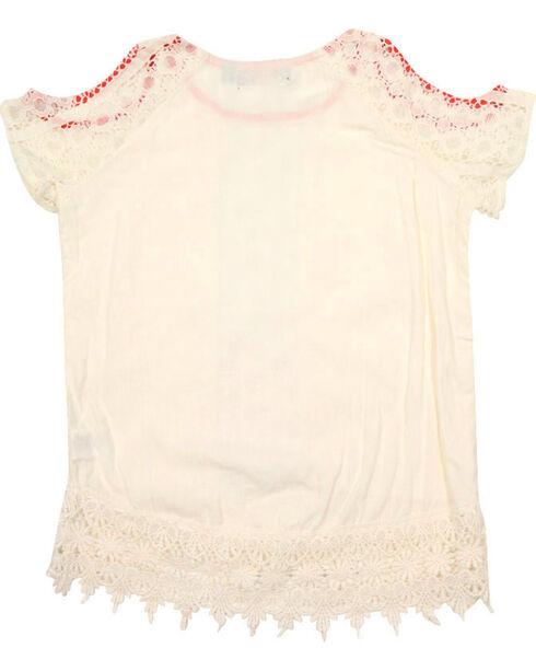 Tempted Girls' Crochet Cold Shoulder Top, Ivory, hi-res