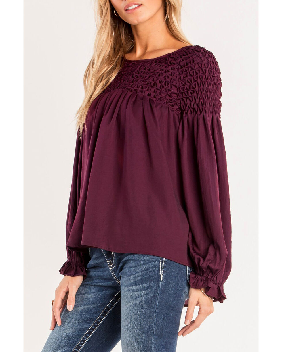 Miss Me Women's Sweet Dreams Top, Burgundy, hi-res
