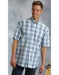 Roper Amarillo Collection Blue Plaid Short Sleeve Shirt, , hi-res