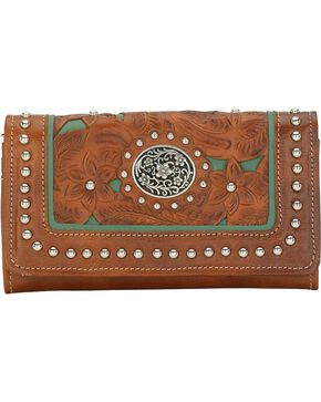 American West Women's Lady Lace Western Wallet, Brown, hi-res