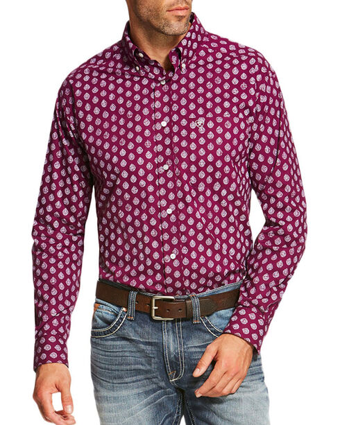 Ariat Men's Palomares Long Sleeve Shirt, Purple, hi-res