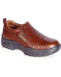 Roper Ostrich Print Leather Slip-On Shoes, Dark Brown, hi-res