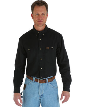 Wrangler Riggs Solid Twill Work Shirt - Tall, Black, hi-res