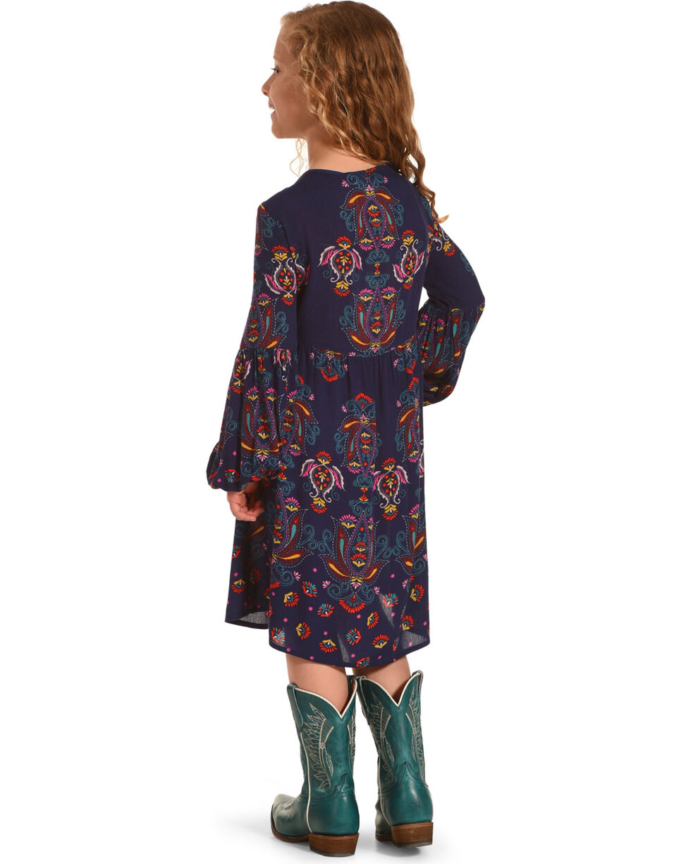 Shyanne Girls' Peasant Printed Long Sleeve Dress, Navy, hi-res