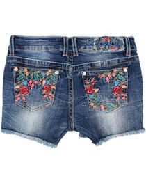 Grace In LA Girls'  Floral Embroidered Frayed Shorts, , hi-res