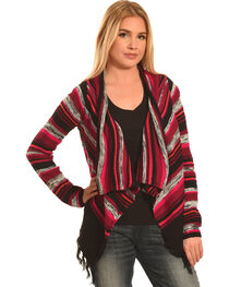 Derek Heart Women's Red and Black Stripe Cozy Cardigan , , hi-res