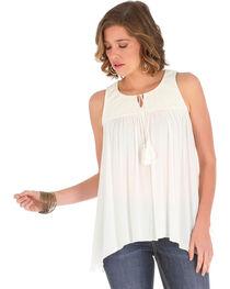 Wrangler Women's Cream Tassel Tie and Lace Peasant Top , , hi-res