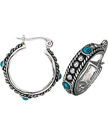 Montana Silversmiths Women's Silver & Turquoise Hoop Earrings, , hi-res