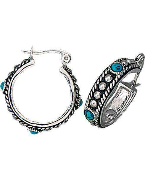 Montana Silversmiths Women's Silver & Turquoise Hoop Earrings, Silver, hi-res