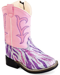 Old West Toddler Girls' Pink and Purple Western Boots - Square Toe , , hi-res