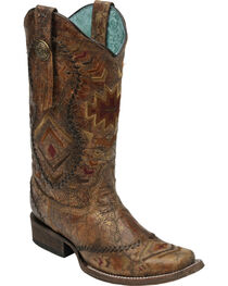 Corral Women's Square Toe Aztec Western Boots, , hi-res