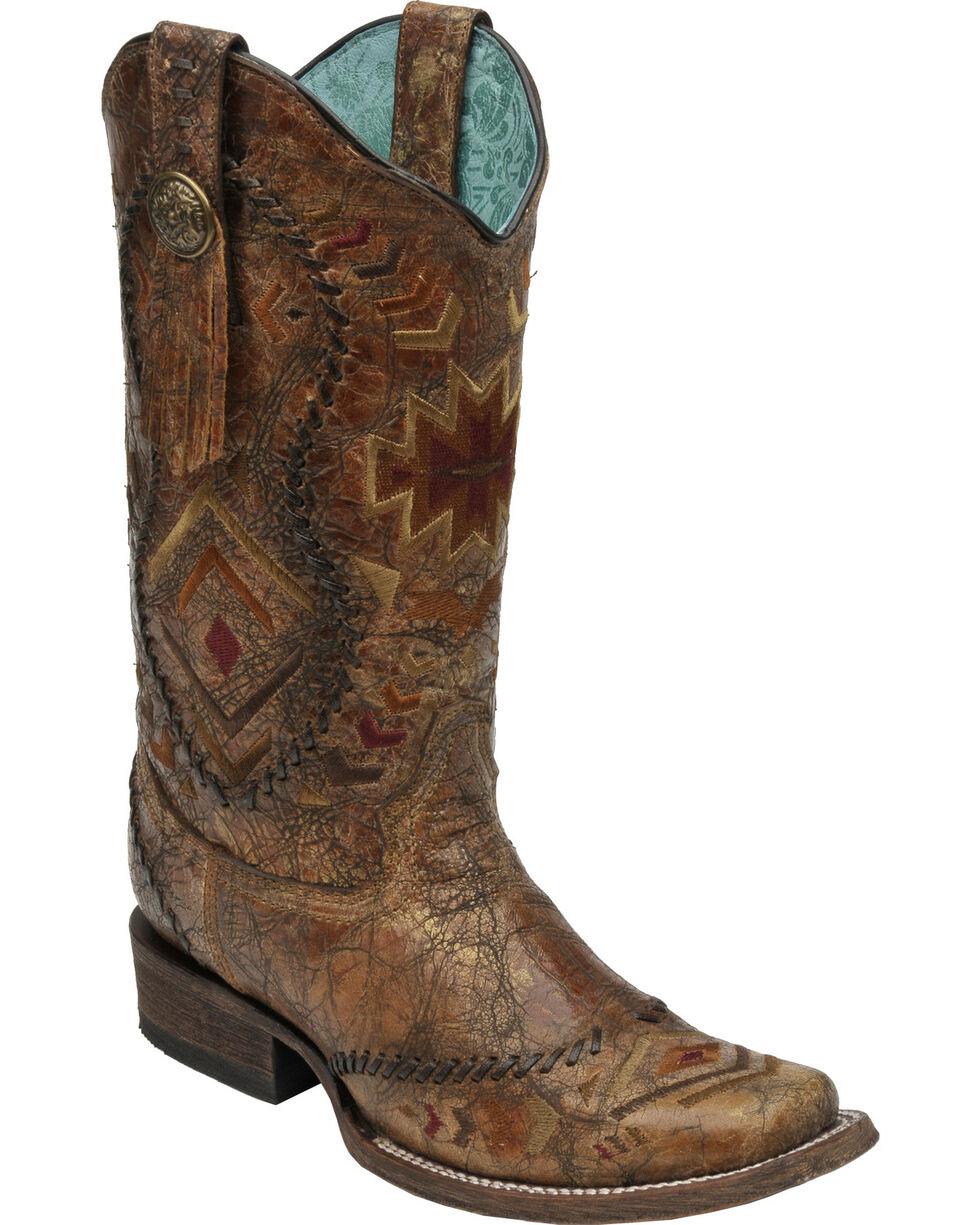 Corral Women's Square Toe Aztec Western Boots, Cognac, hi-res
