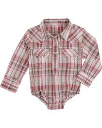 Wrangler Infant Girls' Plaid Long Sleeve Western Onesie, , hi-res
