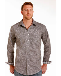 Rough Stock by Panhandle Men's Mataro Vintage Print Snap Shirt, , hi-res