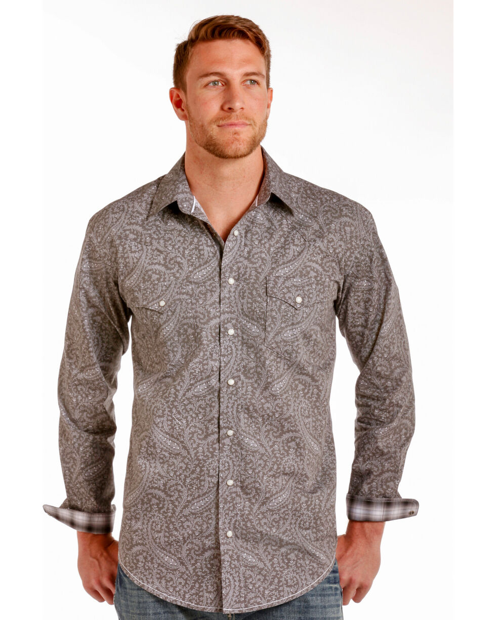 Rough Stock by Panhandle Men's Mataro Vintage Print Snap Shirt, Grey, hi-res