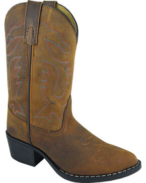 Smoky Mountain Girls' Dakota Western Boots - Round Toe, Brown, hi-res
