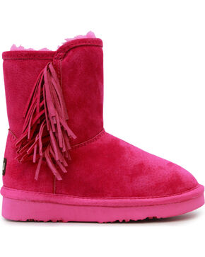 Lamo Girls' Sellas Jr. Short Fringe Side Zip Boots - Round Toe, Pink, hi-res