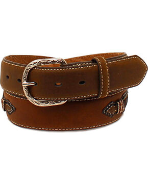 Cody James® Men's Whipstitched Leather Belt, Brown, hi-res
