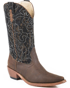 Roper Women's Crystal Lace Shaft Black Western Boots, Brown, hi-res