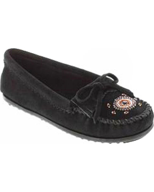 Minnetonka Women's Me To We Moccasins, Black, hi-res